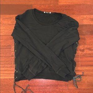 Ragdoll Black Sweatshirt with Leather Braid Detail